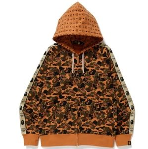 Bape x MCM Brown Camo Hoodie Sweater Mens Large